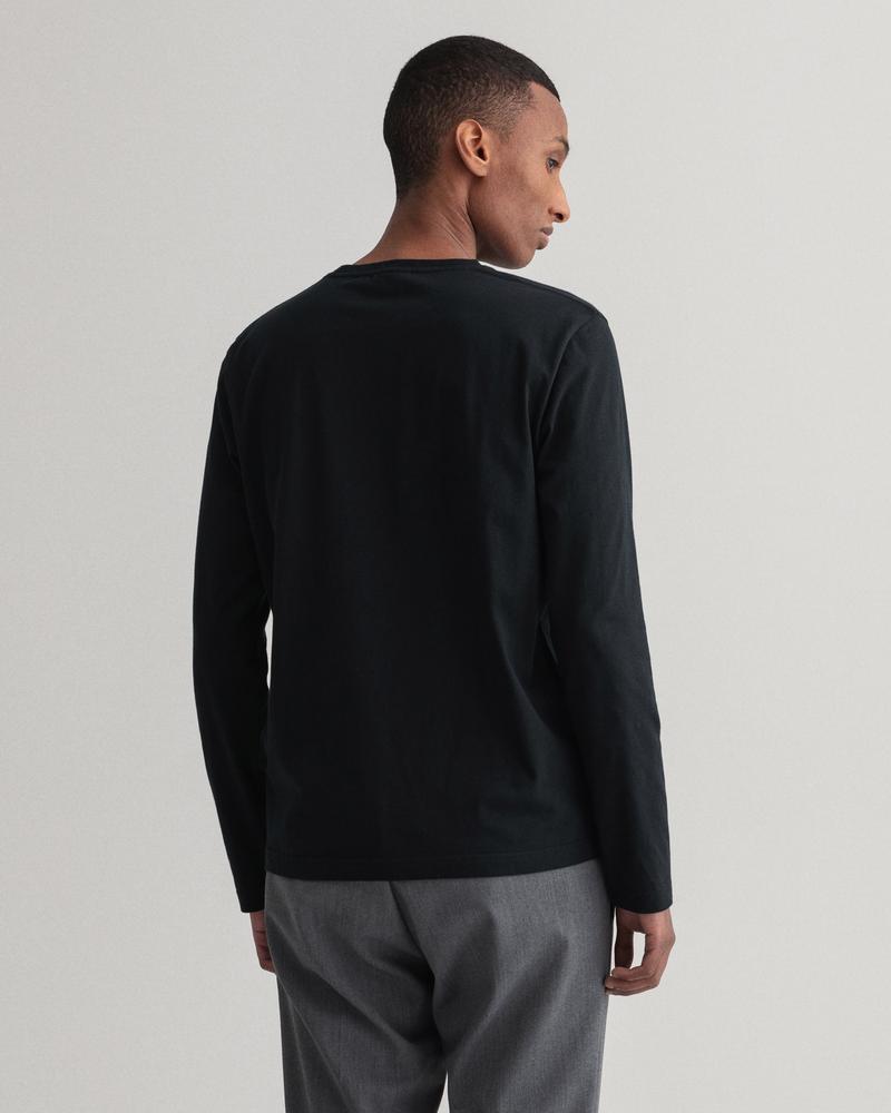 GANT Erkek Siyah Regular Fit Uzun Kollu T-Shirt