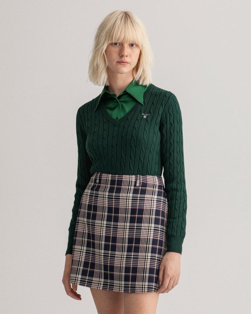 GANT Kadın Yeşil Slim Fit V Yaka Triko
