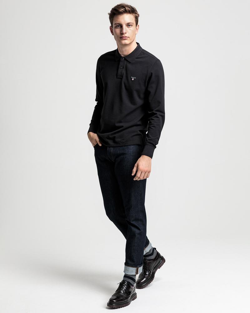 GANT Erkek Siyah Regular Fit Uzun Kollu Polo