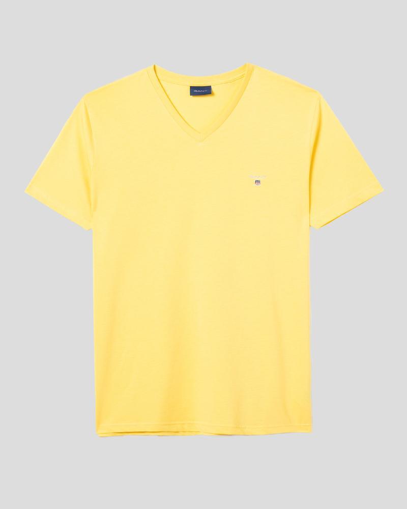 Gant Erkek Sarı Slim Fit V Yaka T-Shirt