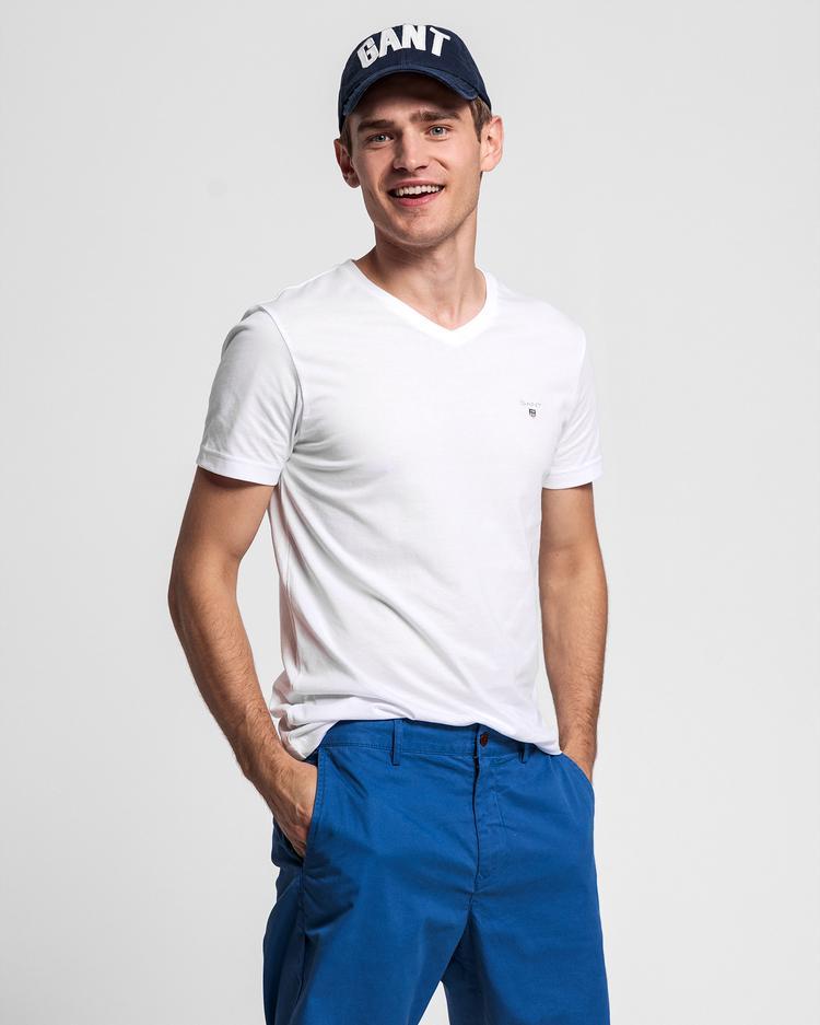 GANT Erkek Beyaz Slim Fit V Yaka T-Shirt