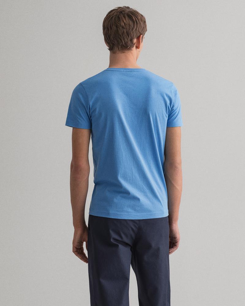 Gant Erkek Mavi Slim Fit V Yaka Tshirt