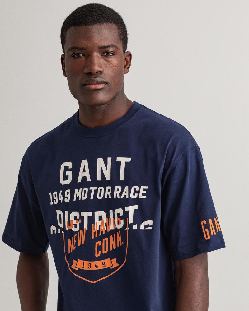 Gant Erkek Mavi Baskılı Kısa Kollu Regular Fit T-shirt