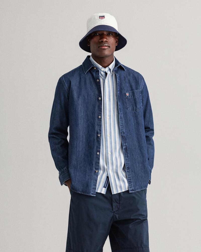 Gant Erkek Mavi Baskılı Regular Fit Klasik Yaka Uzun Kollu Gömlek
