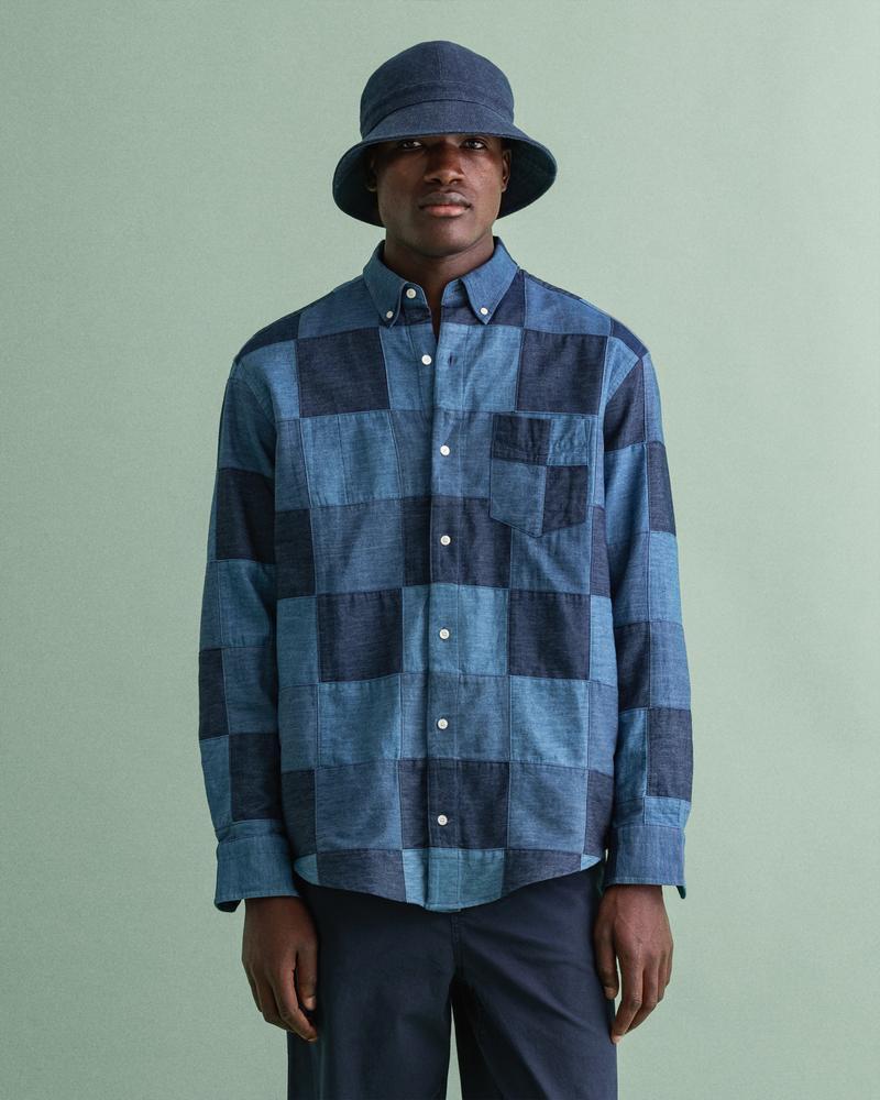 Gant Erkek Lacivert Baskılı Relaxed Fit Düğmeli Yaka Uzun Kollu Gömlek