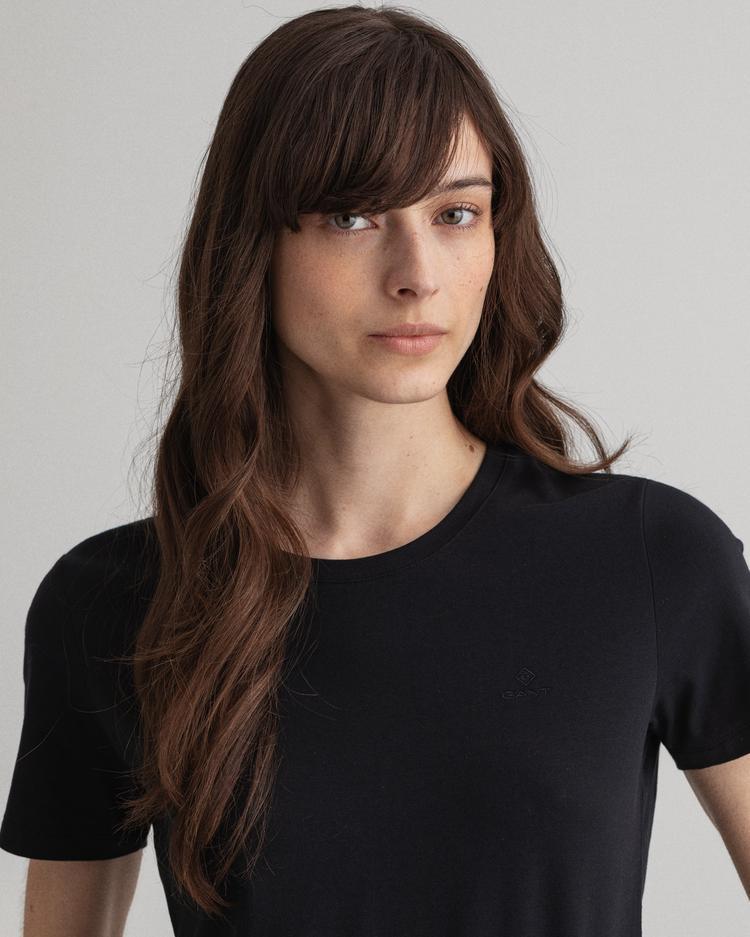 Gant Kadın Siyah Slim Fit T-Shirt