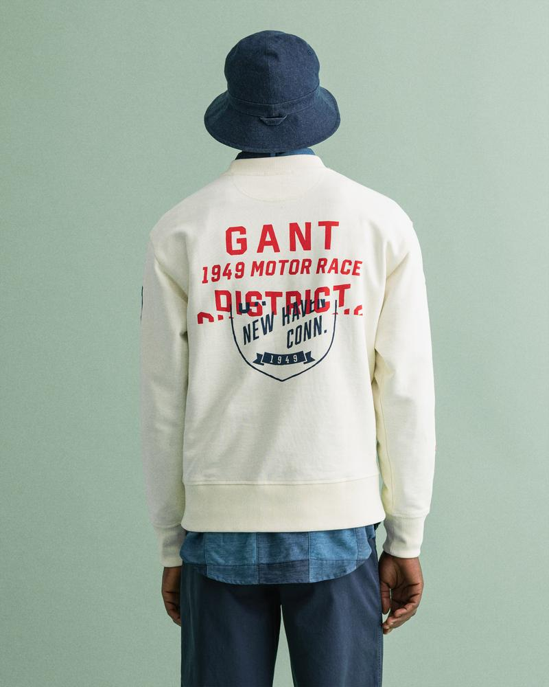 GANT Erkek Krem Baskılı Relaxed Fit Sweatshirt