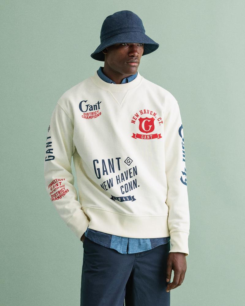 Gant Erkek Krem Baskılı Sweatshirt