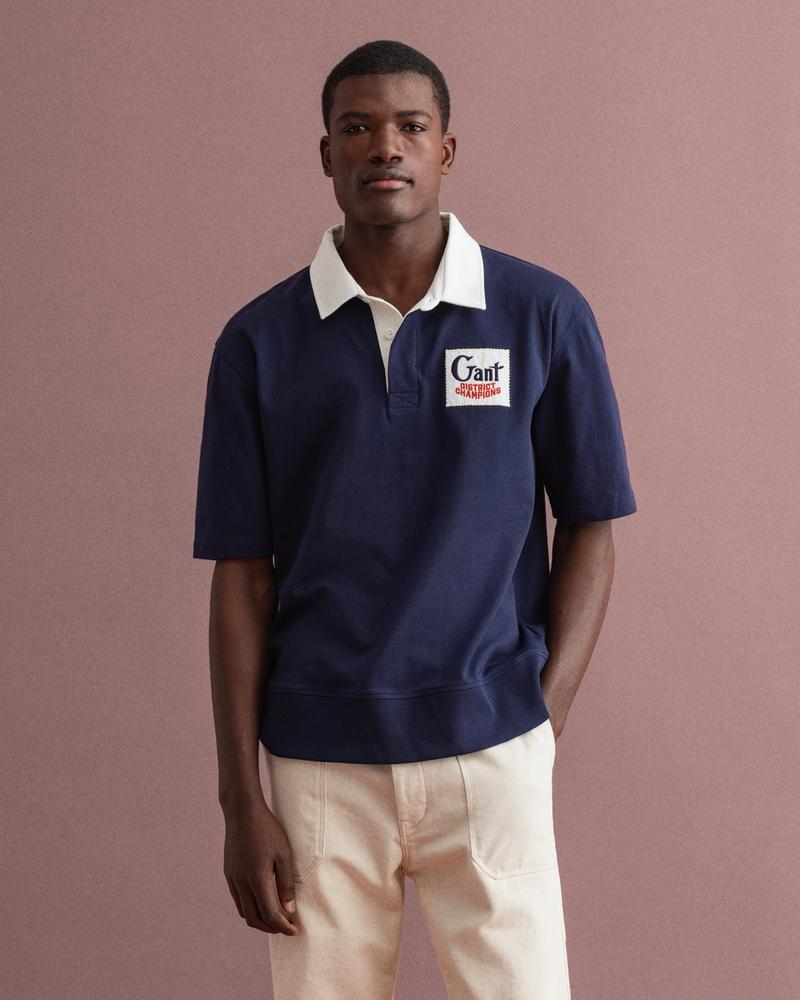 Gant Erkek Lacivert Baskılı Relaxed Fit Polo