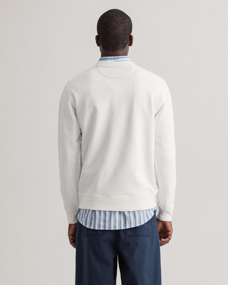 GANT Erkek Beyaz Baskılı Regular Fit Sweatshirt